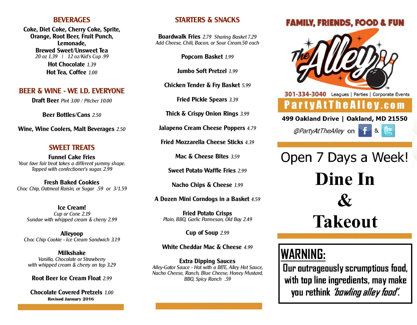 Alley Restaurant Aiea Menu