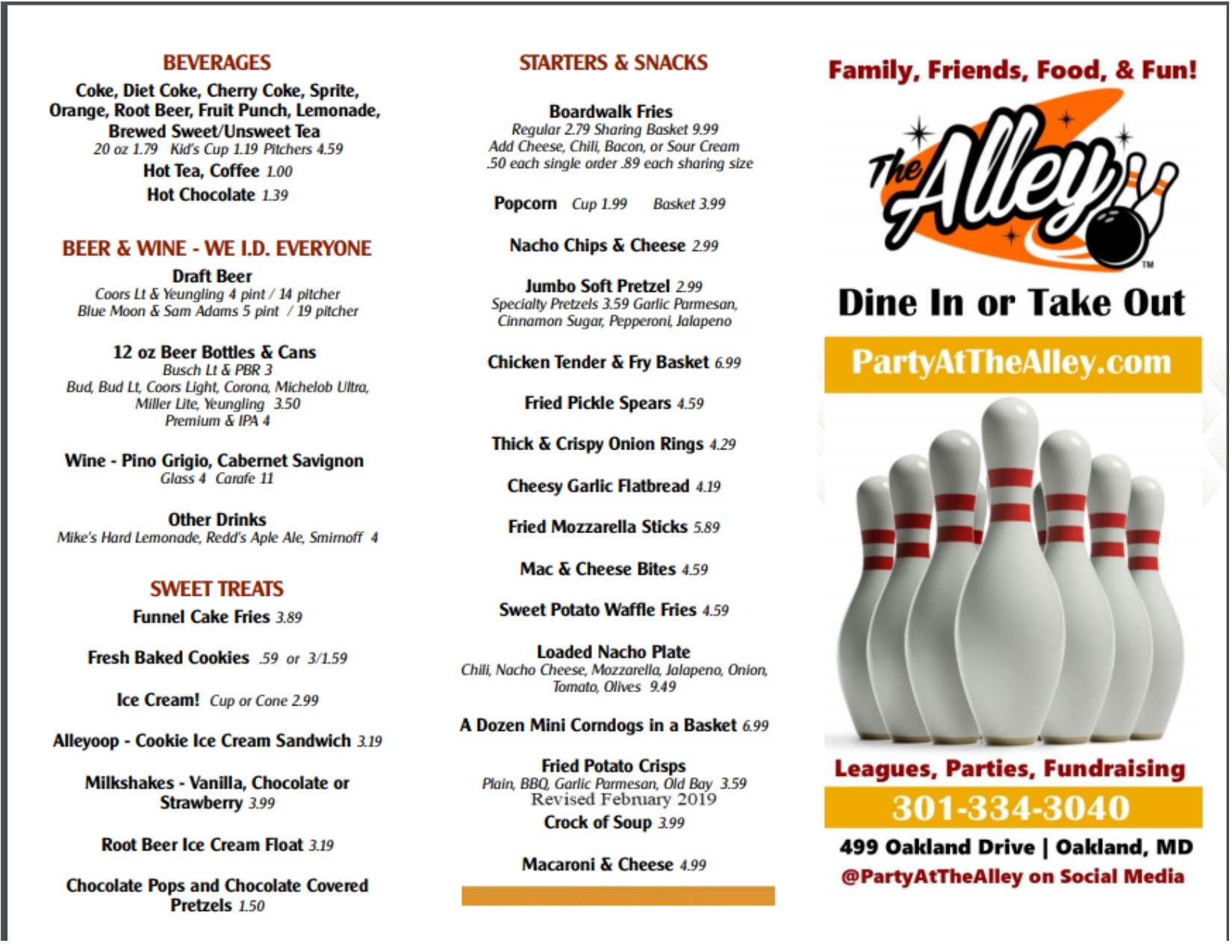The Alley menu page   enjoy a delicious lunch and/or dinner with us!